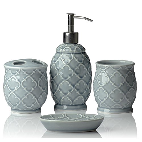 Designer 4-Piece Ceramic Bath Accessory Set | Includes Liquid Soap or Lotion Dispenser w/Toothbrush Holder, Tumbler, Soap Dish | Moroccan Trellis | Contour ()