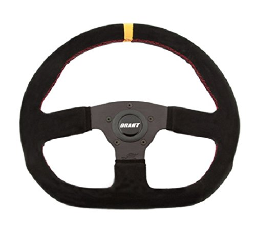 Grant 8548 Suede Series D-Shaped Racing Steering Wheel with Yellow Center Line and Red Stitching - Line Racing Wheels