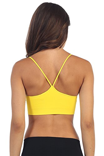Kurve Women's Padded Bandeau Bra (Removable) -Made with Love in The USA- Yellow ()