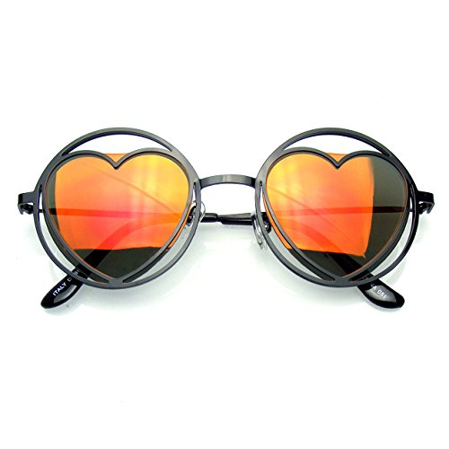 Womens Round Metal Heart Shape Hippie Circle Sunglasses - It Review Sunglasses