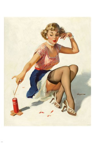 vintage 1953 Looking For Trouble pin-up poster Girl & Fire Cracker