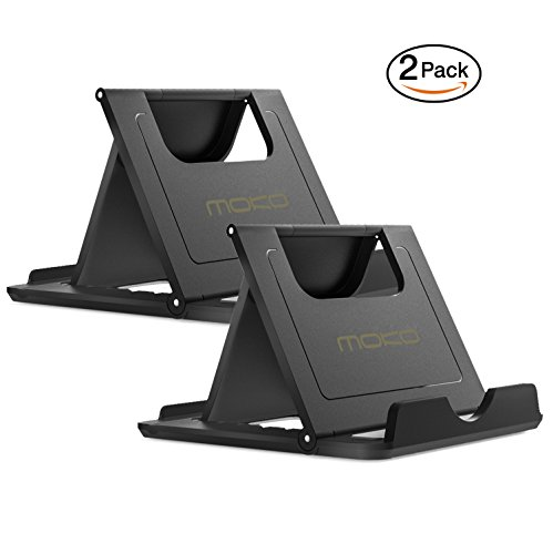 MoKo [2 Pack] Cellphone/Tablet Stand, Universal Foldable Multi-angle Desktop Holder for iPhone X/8/8 Plus/7/7 Plus, Galaxy S9/S9 Plus/Note 8, iPad 10.5, Nintendo Switch, Black