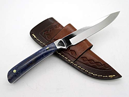 Hand Forged Knife Stone Handle, Bird Skinner Knife, Sleek Drop point Knife Unique Handle, Fixed Blade Knife, Field Dressing Knife for Women