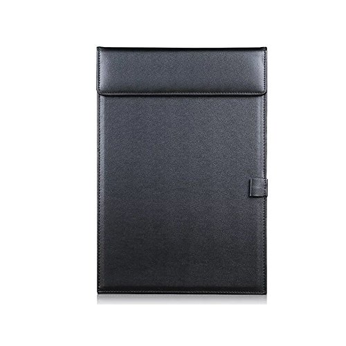 Sanplus Leather Clipboard, A4 PU Leather Conference Pad Ultra-Smooth Magnetic Writing Portfolio,Paper Folder,Menu Note Board with Pen Clip for Business Office Restaurant (Black) by Sanplus