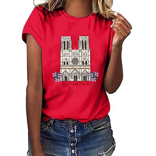 (Women's Graphic T-Shirt- Notre Dame de Paris Print Tees Summer Casual Loose Short Sved Tops Blouse)