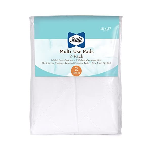 "Sealy Multi-Use Waterproof Fleece Liner Pads: 2-Pack, White, 18"" x 27"""