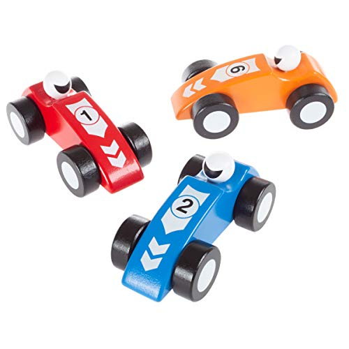 (Hey!Play! Toy Race Car Set- Wooden Racecars with 3 Hand Painted Colorful Cars, Moving Wheels for Racing- Fun Cars Set for Boys & Girls)