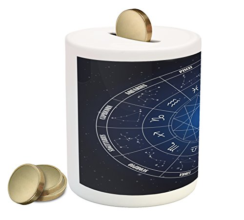 Astrology Piggy Bank by Ambesonne, Zodiac Horoscope Chart in Wheel Shape with Dates in Space Dots Image, Printed Ceramic Coin Bank Money Box for Cash Saving, Dark Blue and White