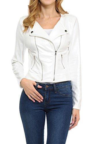 Keebon Womens Modern Casual Asymmetrical Long Sleeve Zip Up Moto Jacket FL White - Jeans Sleeve Leather Long