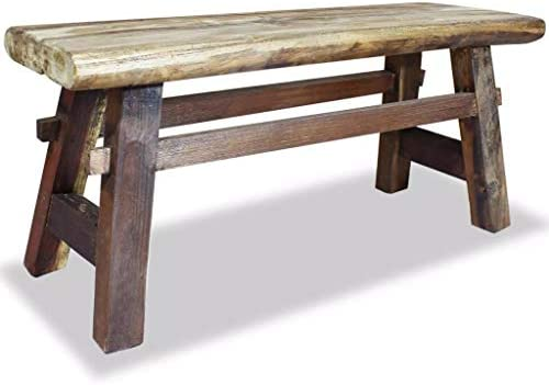 vidaXL Bench 39.4 Solid Reclaimed Wood Rustic Seat Entryway Hallway Seating