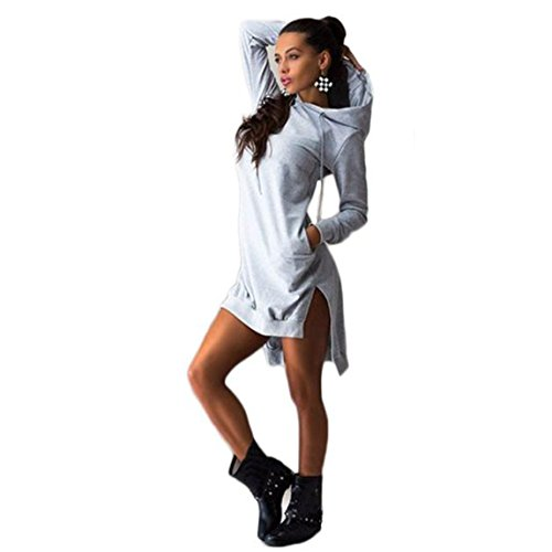 SKY Mujeres Sudadera Vestido Doble Split Sudadera Pullover Vestido de jersey de manga larga con capucha irregulares Por encima de la rodilla Gris