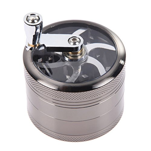 Tobacco Grinder Aluminum Herb Spice Crusher Muller Mill Hand Gray - 4