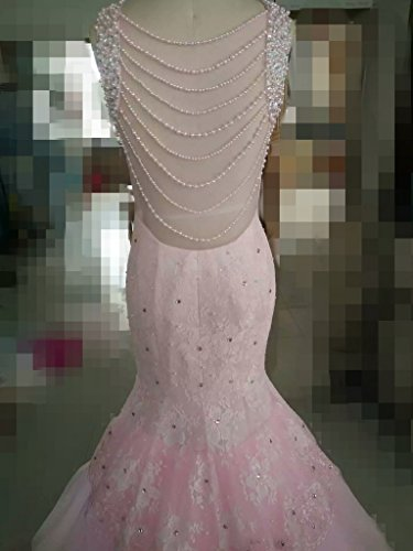 Chellen Dresses Lace Women's Prom White beaded Evening pearls Dresses Ch021 Mermaid rw8rSqO