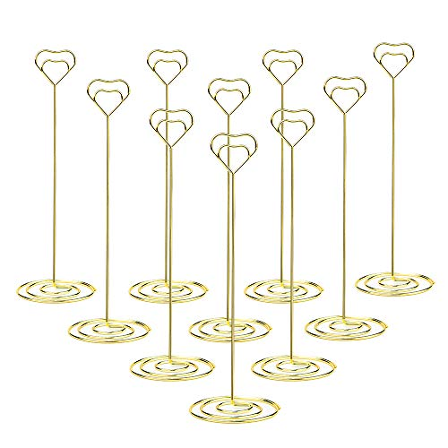 Jofefe 10pcs 8.6 Inch Tall Place Card Holder Table Number Holder Table Card Holder Table Number Stands with Heart Shap Photo Memo Clips for Wedding Favors, Gold