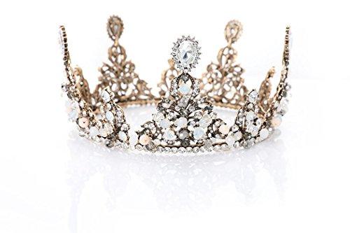 LittleB Baroque Bridal Crown Rhinestone Wedding Tiaras Boutique Headdress. (Bronze)
