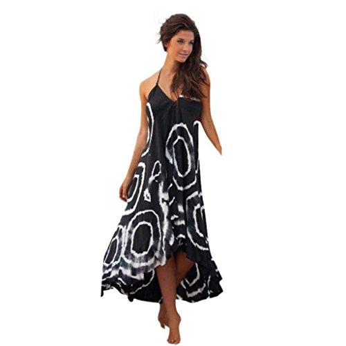 Slinky Halter Long Dress (ChainSee Summer Women's Sexy Print Halter Sleeveless Cocktail Party Long Beach Dress (M, Black))