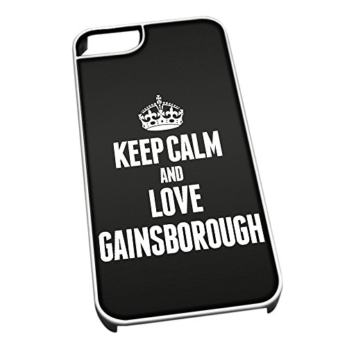 Bianco Cover per iPhone 5/5S 0272 Nero Keep Calm And Love Gainsborough –