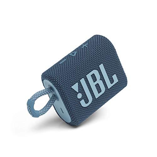 JBL Go 3: Portable Speaker with Bluetooth, Built-in Battery, Waterproof and Dustproof Feature - Blue (JBLGO3BLUAM)