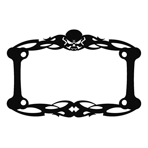 license plate frame black skull - 4