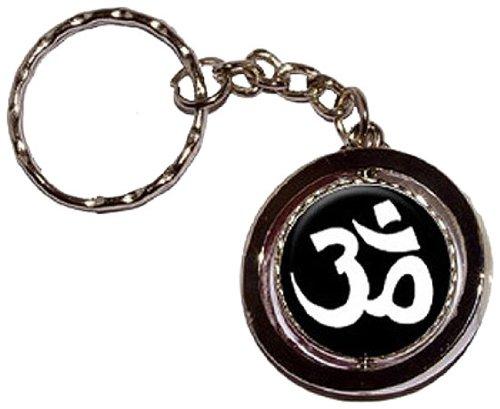 Namaste White Black Spinning Keychain