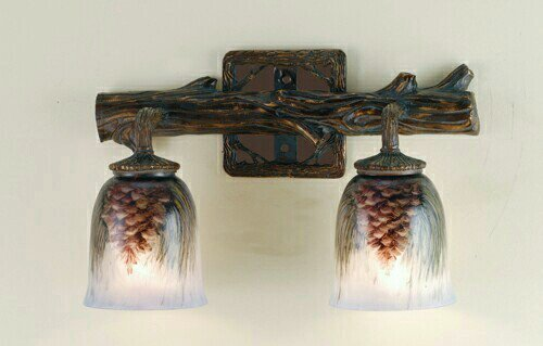 Northwoods Pinecone 2 Light Hand Painted Wall Sconce (Pinecone Fixtures Light)