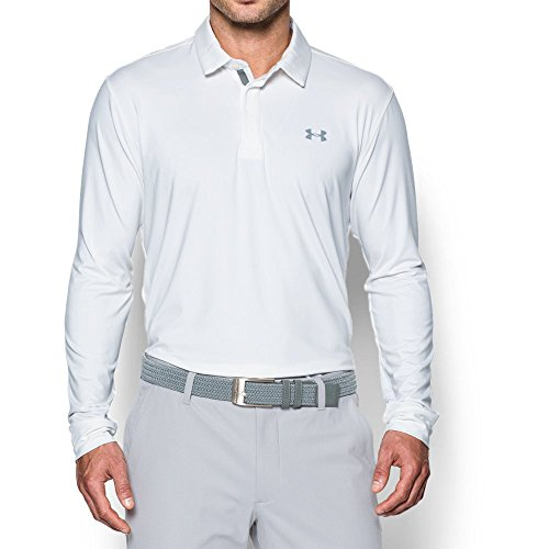 City Golf Shirt - Under Armour Men's Playoff Long Sleeve Golf Polo, White/Steel, XX-Large