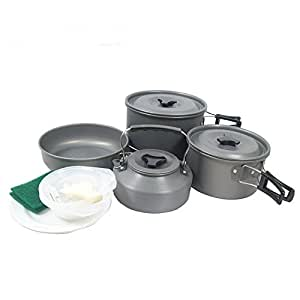BestBuyGoods Outdoor Portable Survival Camping Hiking Cooking Cookware Hard Aluminum Coffee Teapot Kettle Pots Pan Set for 5 Persons Use