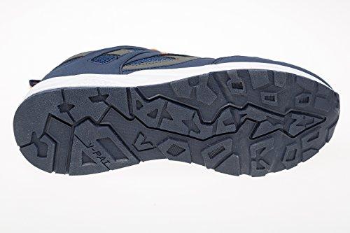 gibra® Zapatos de deporte hombre, muy ligera y cómoda, color azul/naranja, talla 41–46 Azul - azul y naranja