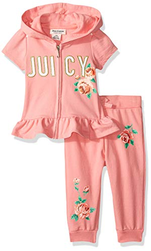 - Juicy Couture Baby Girls 2 Pieces Pants Set with Hoody, Papaya 12M