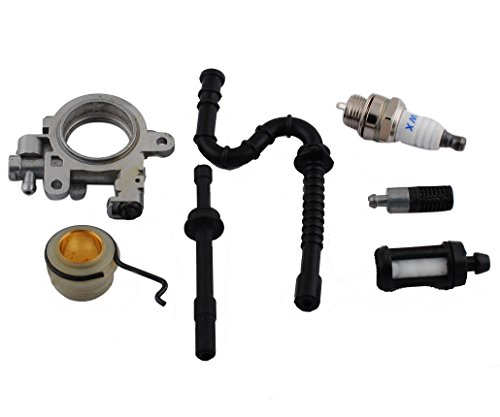PODOY Oil Pump Oiler & Worm Gear Spring with Fuel Line Spark Plug for STIHL 029 039 MS290 MS310 MS390 Chainsaw