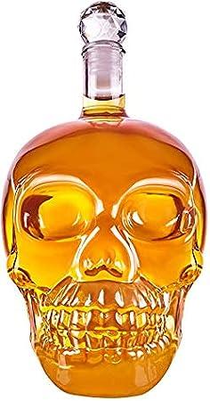GAOXIAOMEI Jarra Skull - Botella De Vidrio con Corcho Skull Head [1000Ml] Jarra De Vidrio Skull Head para Whisky, Vino Y Licores