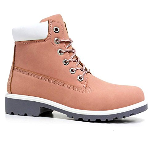 Shoes Size Chelsea Lace Combat 8 Ankle Boots Up Desert Walking Pink S2 Ladies High 3 Womens Top Hiking Biker Trail 6ZqxF47nw