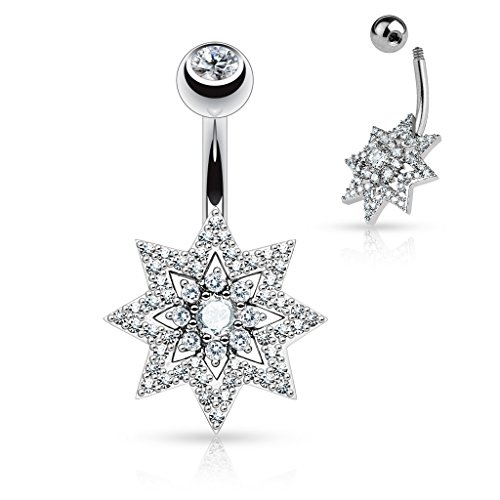 Micro Pave CZ Sunburst Double Tier Round CZ Freadom Fashion 316L Surgical Steel Navel Rings