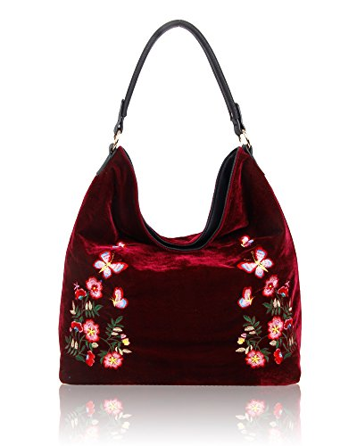 SwankySwans - Daria Velvet Reversible Bag, Borse a spalla Donna Rosso (Burgundy)