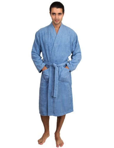 TowelSelections Men's Robe, Turkish Cotton Terry Kimono Bathrobe Large/X-Large Blue