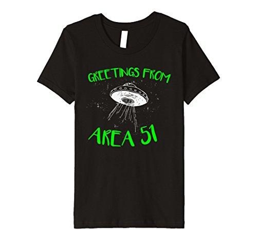 Kids Greetings from Area 51 tshirt Funny Alien UFO Tee 10 Black