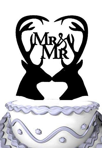 (Custom Cake Topper for Wedding Customized Double Deers Silhouette With Script Mr And Mr In Heart Funny Cake Decorations Mr and Mrs Cake Topper)