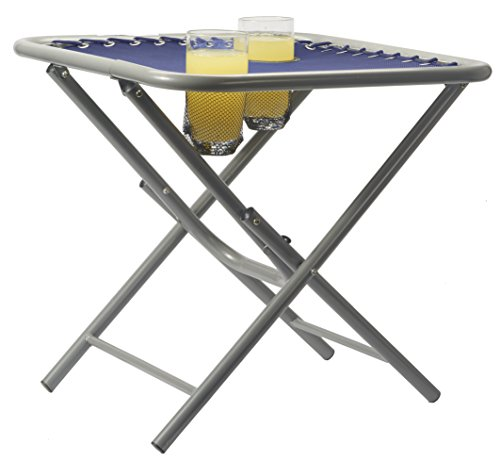 Folding Outdoor Steel Frame Side Table with Drinks Holder for Zero Gravity Sun Lounger (Single Pack, Navy)