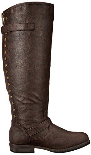 Journee Collection Dames Regular-size, Wide-calf En Extra Breed Kalf Bezaaid Kniehoge Rijlaars Bruin Wijd Kalf