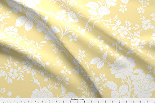 Toile Fabric - Toile Flowers Floral Yellow Silhouette Wedding Roses - by Lilyoake Printed on Organic Cotton Sateen Ultra Fabric by The Yard ()
