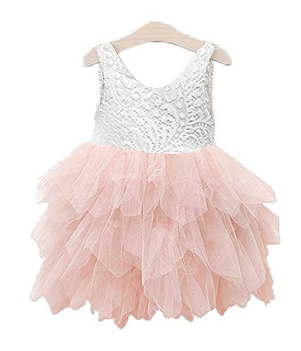 Topmaker Backless A-line Lace Back Flower Girl Dress (6Y, Non-Beads-Pink) -