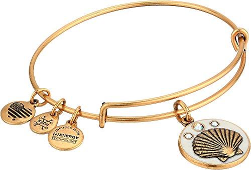 Shell Bangle Bangles (Alex and Ani Women's Color Infusion, Shell Charm Bangle Bracelet, Rafaelian Gold, Expandable)