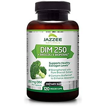DIM 250 mg per Capsule   4 Month Supply   120 Veggie Capsules   Plus 10mg BioPerine and Pure Broccoli Extract   Vegetarian / Vegan   Supports Healthy Estrogen Levels and Metabolism