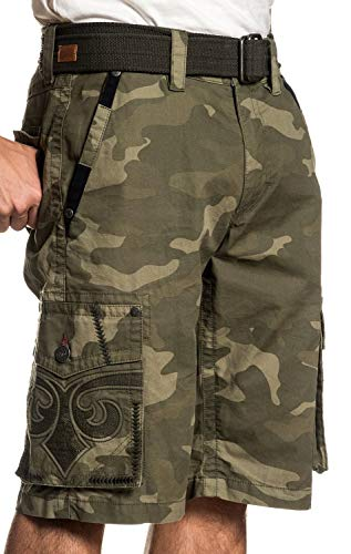 (Affliction Negotiate Fashion Embroidered Cargo Shorts for Men (Belt Included))