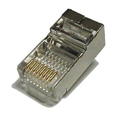 Tupavco TP806 Shielded RJ45 CAT5 CAT5E Crimp Connector (100 Pack Bag) 8P8C STP Ethernet Network Cable Plug Crimp Jack...