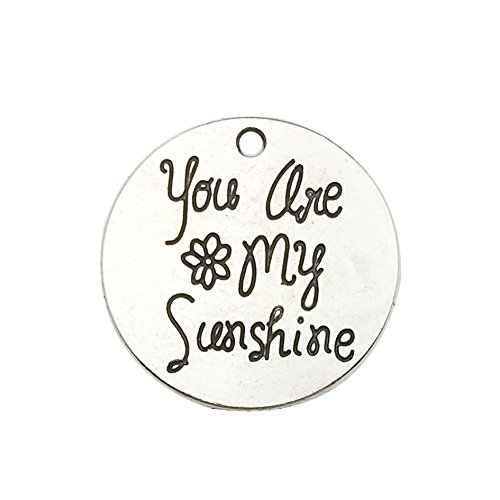 30pcs Antique Silver Round You are My Sunshine Inspiration Words Charms Craft Supplies Tag Charms Pendants for Crafting, Jewelry Findings Making Accessory for DIY Necklace Bracelet ()