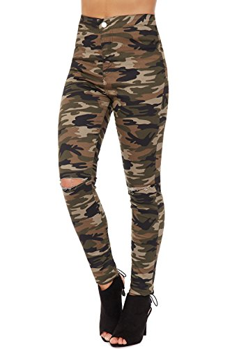WearAll Womens Camouflage Cut Knee Jeans Print Skinny Fit Ripped Torn Bottoms Pants 6-16