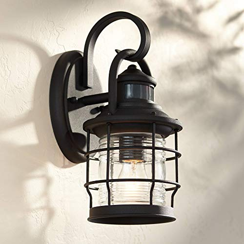 Maryland Nautical Outdoor Wall Light Fixture Textured Black Cage 12