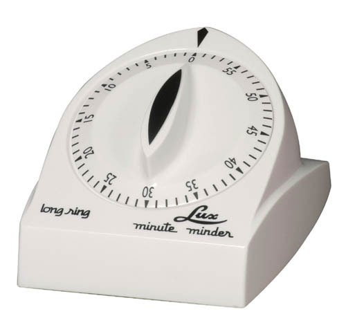 Lux Minute Minder Long Ring Timer Mechanical White 60 Min by Browne Foodservice