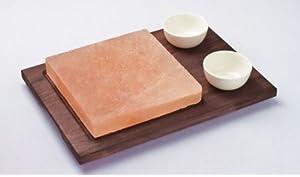 Bisetti - Piedra de sal para asar (base de madera de color wengé, incluye